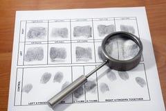 Carta dell'impronta digitale Fotografia Stock Libera da Diritti
