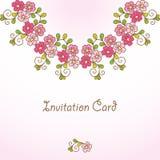 Carta dell'invito con fondo floreale. Fotografia Stock