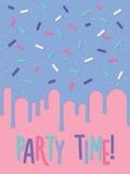 Carta dell'invito con il dolce decorato Party il tempo Immagini Stock