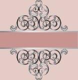 Carta dell'invito con l'ornamento reale d'argento classico Fotografia Stock
