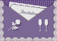 Carta dell'invito decorata con pizzo su fondo dei pois illustrazione vettoriale