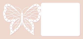 Carta dell'invito, decorazione di nozze, elemento di progettazione Taglio elegante del laser della farfalla Illustrazione di vett Immagini Stock