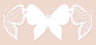 Carta dell'invito, decorazione di nozze, elemento di progettazione Taglio elegante del laser della farfalla Illustrazione di vett Fotografia Stock