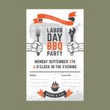 Carta dell'invito del BBQ di festa del lavoro Fotografie Stock Libere da Diritti