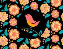 Carta dell'invito del fiore con il canto dell'uccello e Fotografia Stock Libera da Diritti