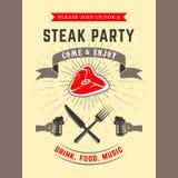 Carta dell'invito del partito della bistecca Immagini Stock Libere da Diritti