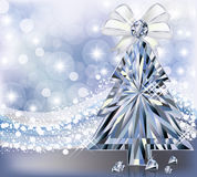 Carta dell'invito dell'albero di Diamond Christmas Fotografia Stock