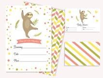 Carta dell'invito della doccia di bambino con il bradipo sveglio illustrazione vettoriale