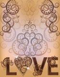 Carta dell'invito di amore di nozze illustrazione di stock