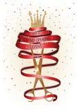 Carta dell'invito di grande apertura con il nastro e le forbici rossi lunghi Fotografie Stock