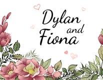 Carta dell'invito di matrimonio con i cuori rosa e struttura del fiore su fondo bianco royalty illustrazione gratis