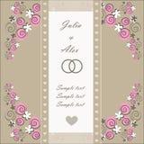 Carta dell'invito di nozze con gli elementi floreali Immagine Stock