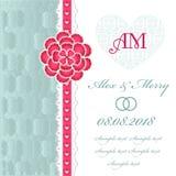 Carta dell'invito di nozze con gli elementi floreali. Fotografie Stock