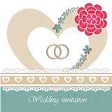 Carta dell'invito di nozze con gli elementi floreali. Immagini Stock