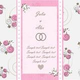 Carta dell'invito di nozze con gli elementi floreali Fotografia Stock