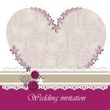 Carta dell'invito di nozze con gli elementi floreali. Immagine Stock