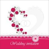 Carta dell'invito di nozze con gli elementi floreali Fotografie Stock
