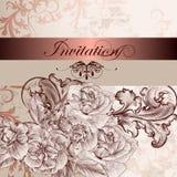 Carta dell'invito di nozze con i fiori per progettazione illustrazione vettoriale