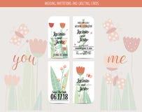 Carta dell'invito di nozze con i modelli romantici del fiore Fotografia Stock Libera da Diritti