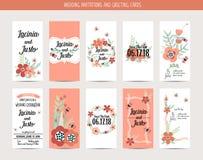 Carta dell'invito di nozze con i modelli romantici del fiore Fotografia Stock
