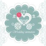 Carta dell'invito di nozze con il trasporto Fotografia Stock