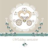 Carta dell'invito di nozze con il trasporto. Fotografia Stock