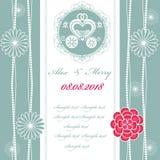 Carta dell'invito di nozze con il trasporto Immagini Stock