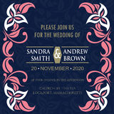 Carta dell'invito di nozze del corallo e della marina royalty illustrazione gratis