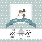Carta dell'invito di nozze sul modello di pois Fotografia Stock
