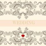 Carta dell'invito di saluto di nozze con l'ornamento royalty illustrazione gratis