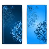 Carta dell'invito di vettore con l'ornamento blu Immagine Stock
