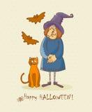 Carta dell'invito di vettore del partito di Halloween con la strega, i pipistrelli ed il gatto rosso Fotografia Stock