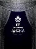 Carta dell'invito di VIP con le tende d'argento strutturate Fotografia Stock Libera da Diritti