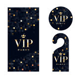 Carta dell'invito di VIP, gancio d'avvertimento e distintivo Immagini Stock Libere da Diritti