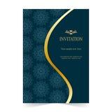 Carta dell'invito, fondo del blu della partecipazione di nozze Immagine Stock Libera da Diritti
