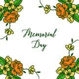 Carta dell'invito dell'illustrazione di vettore del Giorno dei Caduti con il fiore della struttura giallo ed arancio royalty illustrazione gratis