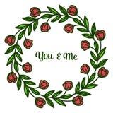 Carta dell'invito dell'illustrazione di vettore voi e me con le strutture rosse molto belle del fiore illustrazione di stock