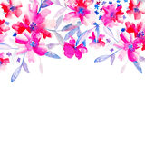 Carta dell'invito per il giorno delle nozze con i fiori dell'acquerello Fotografia Stock Libera da Diritti