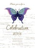 Carta dell'invito per nozze, il compleanno e la festa con la bella farfalla Immagine Stock Libera da Diritti