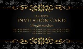 Carta dell'invito - stile di lusso dell'annata dell'oro e del nero illustrazione di stock