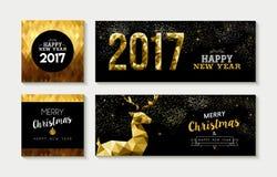 Carta 2017 dell'oro di Buon Natale ed insieme dell'insegna Immagine Stock Libera da Diritti