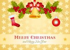 Carta dell'oro di Natale con agrifoglio ed il regalo illustrazione vettoriale