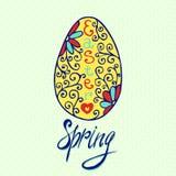 Carta dell'uovo di Pasqua con l'ornamento disegnato a mano floreale Uso di vettore come cartolina d'auguri, invito Fotografie Stock Libere da Diritti