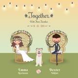 Carta della Boemia rustica dell'invito di nozze delle coppie del fumetto con il cane illustrazione di stock