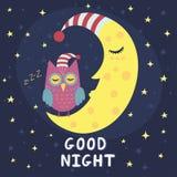 Carta della buona notte con la luna di sonno ed il gufo sveglio Fotografie Stock