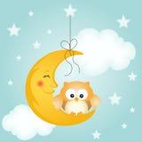 Carta della buona notte con la luna ed il gufo sveglio Immagini Stock Libere da Diritti