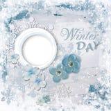 Carta della composizione in inverno con la struttura della foto ed i fiori piacevoli fotografia stock