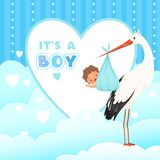 Carta della doccia con la cicogna Uccello di volo con il regalo del neonato Fondo del fumetto di vettore per i distintivi delle e illustrazione vettoriale