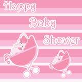 Carta della doccia di bambino con il gatto sveglio in carretto del bambino, fumetto di vettore, adatto a carta dell'invito della  Immagini Stock Libere da Diritti