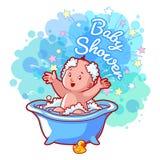 Carta della doccia di bambino con il neonato sveglio nel bagno Immagine Stock Libera da Diritti